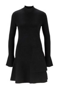 HUGO BOSS Fien Fit-and-flare knitted dress in a sparkly wool blend in black / lbd / metallic thread evening dresses