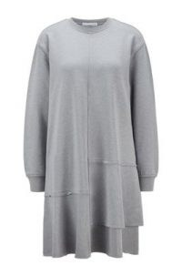 HUGO BOSS Relaxed-fit dress with dropped waist and flounce hem in silver