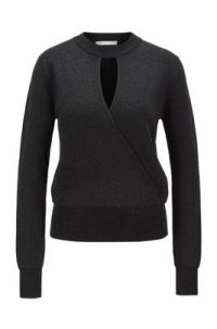 HUGO BOSS Floricia Relaxed-fit sweater in metallised stretch fabric in black / front keyhole cut out sweaters