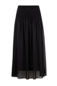 HUGO BOSS Eza Smocked-waist skirt in tulle with metallic dot print