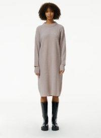 Tibi Boucle Alpaca Slit Cuff Easy Sweater Dress ~ light mauve knitted dresses