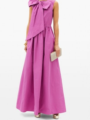 VALENTINO Bow cotton-blend faille gown – bright statement event gowns – feminine evening wear - flipped