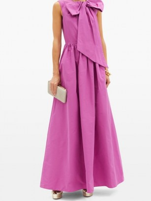 VALENTINO Bow cotton-blend faille gown – bright statement event gowns – feminine evening wear