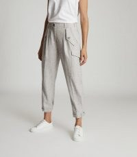 REISS BRIANNA WOOL BLEND CARGO TROUSERS GREY MARL ~ casual pocket detail pants