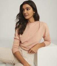 REISS BRIDGETTE SWEATSHIRT WITH SEAM DETAILING APRICOT / casual style / weekend relaxing tops