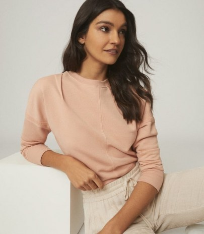 REISS BRIDGETTE SWEATSHIRT WITH SEAM DETAILING APRICOT / casual style / weekend relaxing tops - flipped