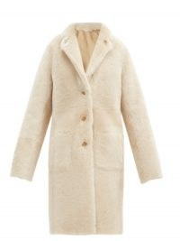 JOSEPH Brittany reversible shearling and leather coat in cream ~ luxe single breasted winter coats