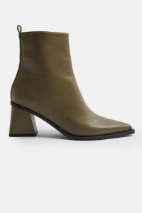 TOPSHOP BRONX Khaki Point Sock Boots / green block heel pointed toe boot
