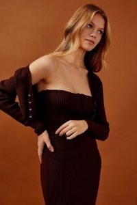 Topshop Brown Bandeau Knitted Corset | fitted strapless tops