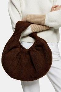 Topshop Brown Borg Scrunchie Shoulder Bag | textured bags