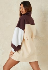 brown colourblock missguided high neck sweater dress ~ casual logo print dresses
