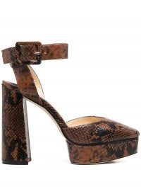 Jimmy Choo Jinn 125mm platform sandals – snakeskin effect platforms – high block heel ankle strap shoes