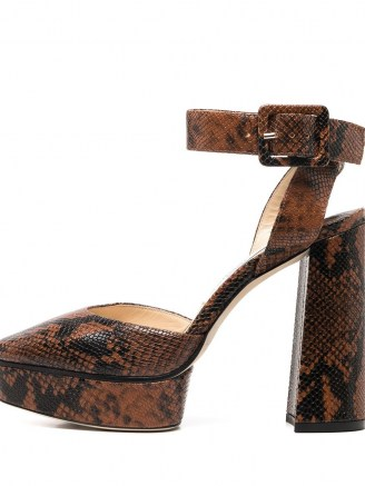 Jimmy Choo Jinn 125mm platform sandals – snakeskin effect platforms – high block heel ankle strap shoes - flipped