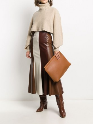 Joseph debossed logo clutch bag in brown leather – large chic clutch bags - flipped