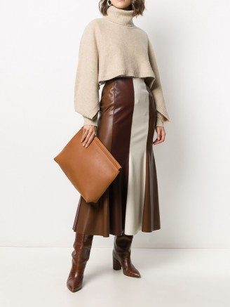Joseph debossed logo clutch bag in brown leather – large chic clutch bags
