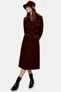 Topshop Brown Liquid Vinyl Trench | autumn colours | self tie belted coats