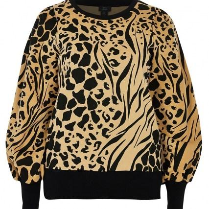 RIVER ISLAND Brown puff sleeve animal print sweatshirt ~ printed sweatshirts - flipped