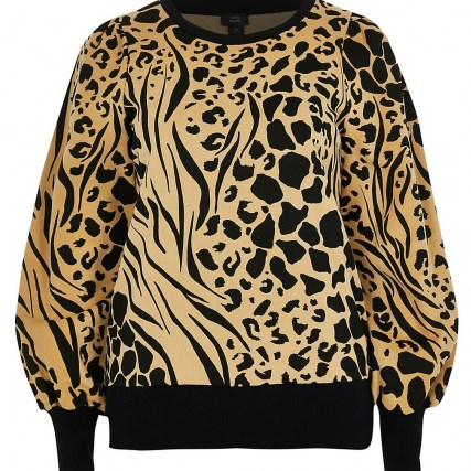 RIVER ISLAND Brown puff sleeve animal print sweatshirt ~ printed sweatshirts