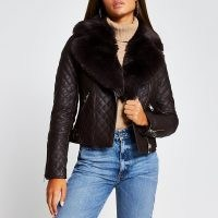 Brown quilted faux fur collar PU biker jacket ~ faux leather jackets ~ casual winter outerwear