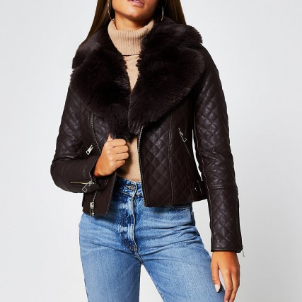 Brown quilted faux fur collar PU biker jacket ~ faux leather jackets ~ casual winter outerwear - flipped