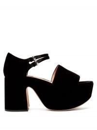 Chunky Mary Jane platforms ~ ROCHAS Buckled velvet platform sandals