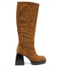 NODALETO Bullia knee-high brown-suede platform boots ~ retro winter footwear ~ chunky heels