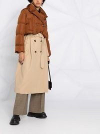 Burberry double-breasted layered trench coat | padded overlay coats