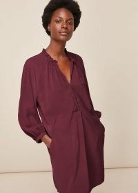 WHISTLES ENORA DRESS Burgundy / relaxed fitting dresses / colours for autumn – winter