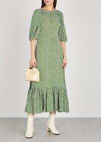 BYTIMO Green floral-print midi dress ~ vintage look volume sleeve dresses ~ flared hemlines