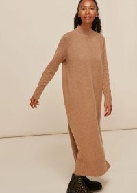 WHISTLES LONGLINE WOOL KNIT DRESS in Camel ~ light brown sweater dresses