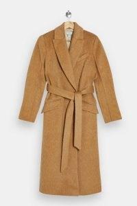 Topshop Camel Manhattan Belted Coat | light brown textured winter coats