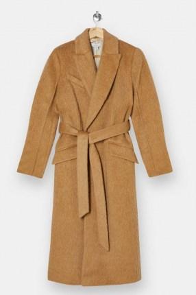 Topshop Camel Manhattan Belted Coat | light brown textured winter coats - flipped