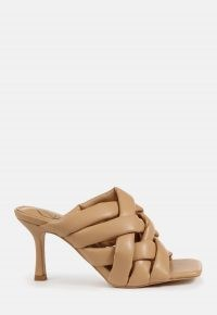 MISSGUIDED camel padded woven cross over mules ~ light brown crisscross mule ~ going out heels