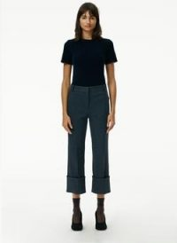Tibi Camille Check High Cuffed Hem Cropped Pants ~ checked crop hem trousers