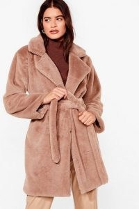 NASTY GAL Can't Touch This Belted Faux Fur Coat