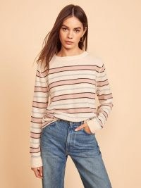 REFORMATION Cashmere Boyfriend Sweater Serenade Stripe ~ relaxed striped sweaters ~ round neck jumpers