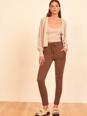 Reformation Cashmere Sweatpant in Cinnamon | soft knit sweatpants