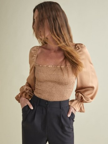 Reformation Chamomile Top   smocked square neck tops   puff sleeves - flipped