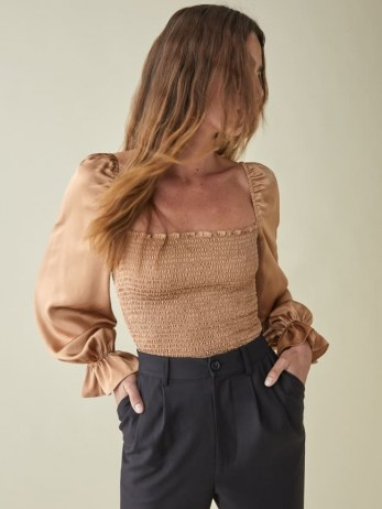 Reformation Chamomile Top   smocked square neck tops   puff sleeves