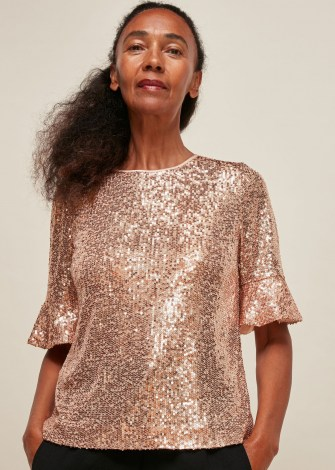 WHISTLES SADA SEQUIN TOP / fluted short sleeve sequinned tops - flipped