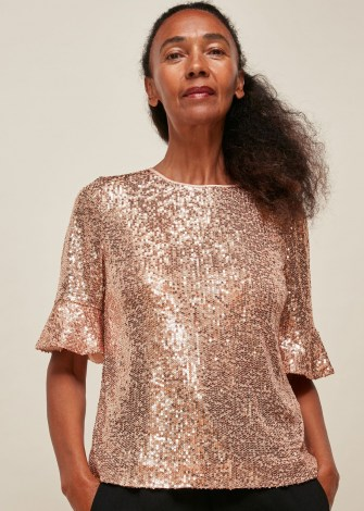WHISTLES SADA SEQUIN TOP / fluted short sleeve sequinned tops