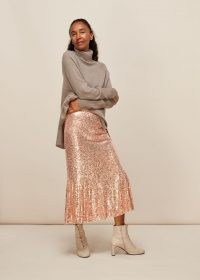WHISTLES SEQUIN MIDI SKIRT in Champagne / sequinned flared hem skirts