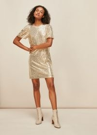 WHISTLES SEQUIN SHIFT DRESS CHAMPAGNE / shimmering party dresses / glittering occasionwear / sparkling occasion fashion