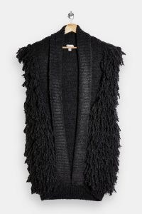 Topshop Charcoal Grey Textured Knitted Gilet ~ shaggy gilets ~ sleeveless jackets