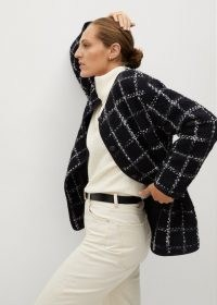 MANGO Copito check tweed jacket / textured black and white checked jackets / large monochrome checks