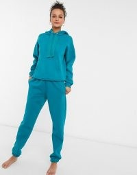 Chelsea Peers organic cotton heavy weight lounge set in teal ~ loungewear sets ~ joggers and hoodies ~ jogger and hoodie co-ords