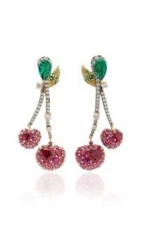 Anabela Chan Cherry 18K Gold Vermeil Multi-Stone Earrings / cherries / fruit jewelley