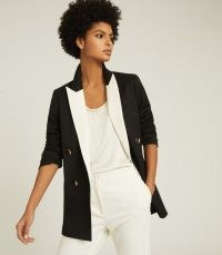 REISS CHESS CONTRAST LAPEL TUXEDO BLAZER BLACK/WHITE ~ monochrome blazers