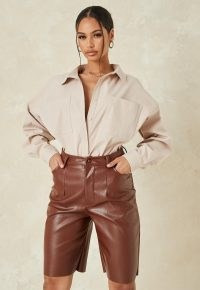 MISSGUIDED chocolate co ord faux leather bermuda shorts