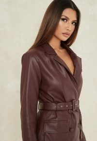 MISSGUIDED chocolate co ord faux leather tailored blazer ~ brown belted blazers ~ fashion sets ~ clothing co ords
